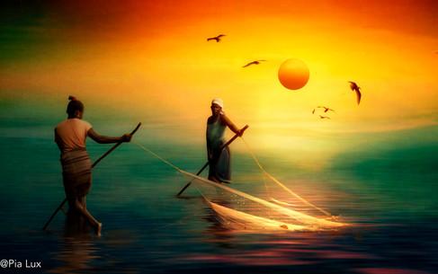 Fishing in the sun