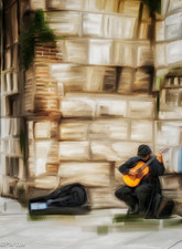 Lonely guitar player