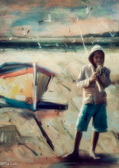 The fishing boy - vintage