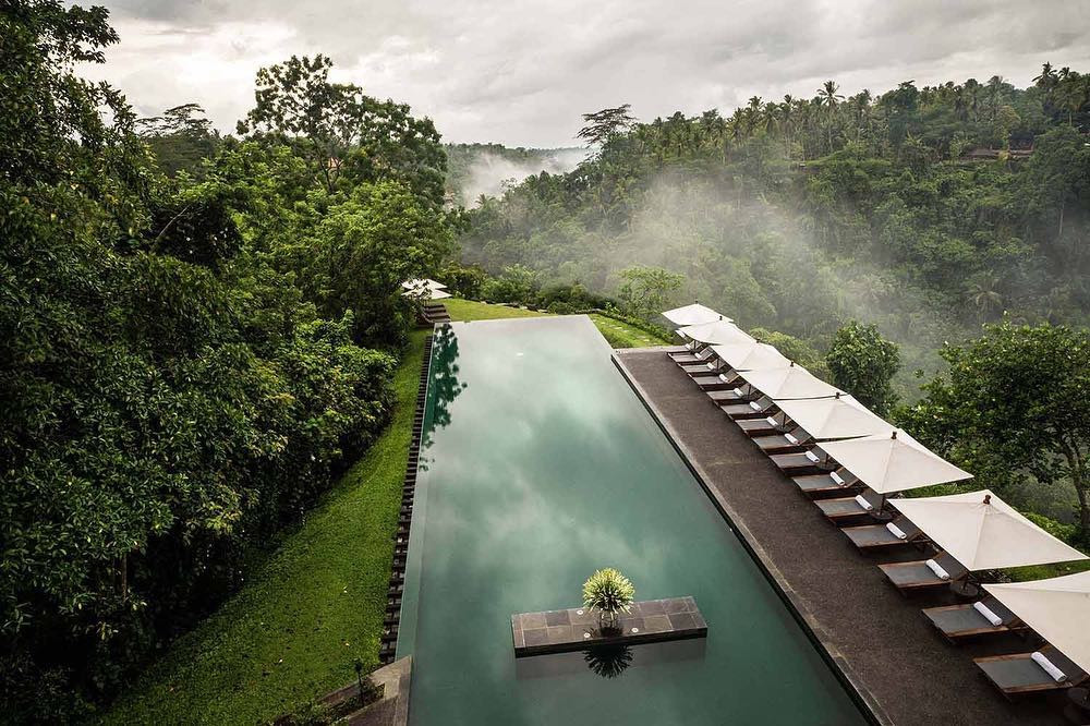 Infinity pool at Alila Ubud sits atop the Ayung River in Bali.