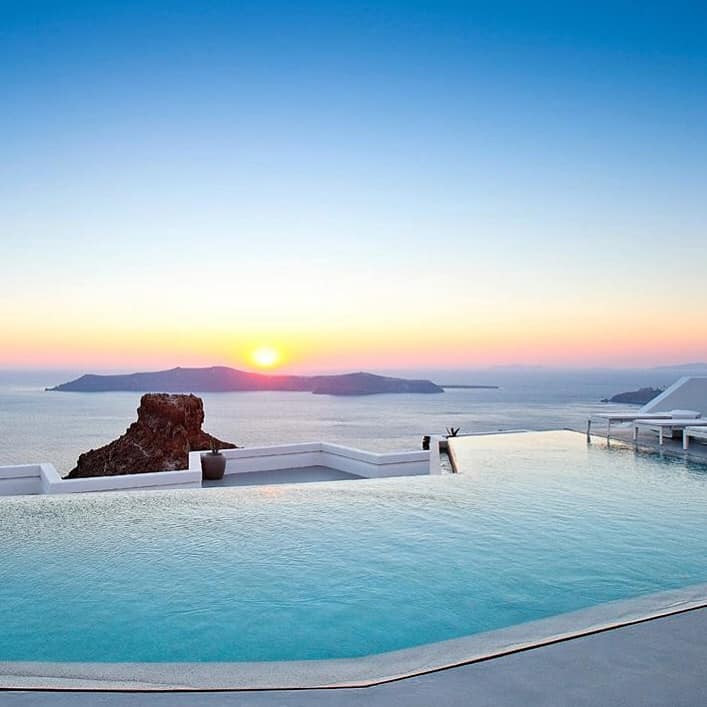 The infinity pool at Grace Santorini offers stunning uninterrupted views across the caldera.