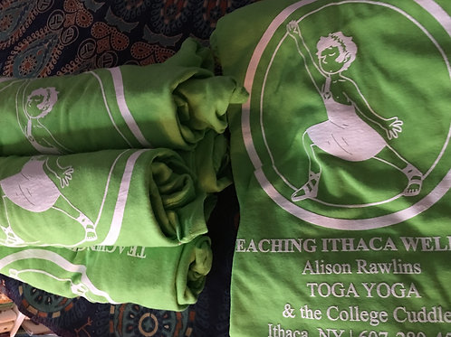 Toga Yoga Teaching Ithaca Wellness T-Shirt Large lime green