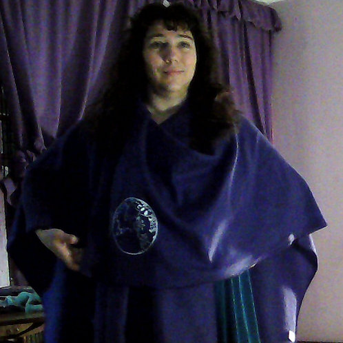 One size blanket shawl lightweight purple fleece white ink logo