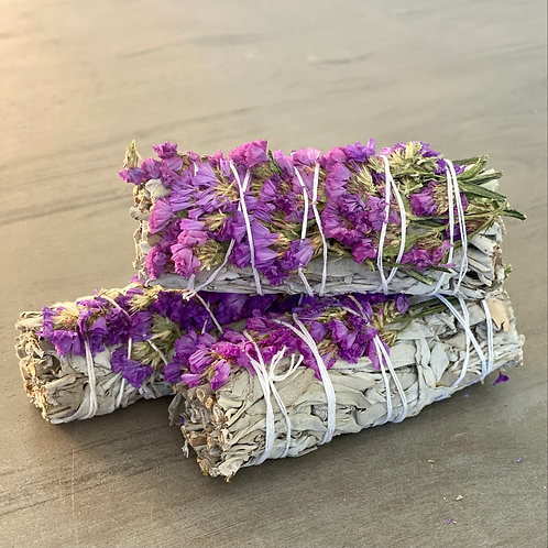 White Sage Smudge Stick with Purple Flowers