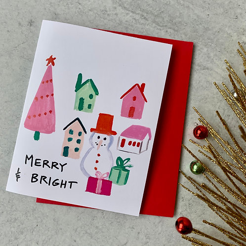 Merry & Bright Snowman Card