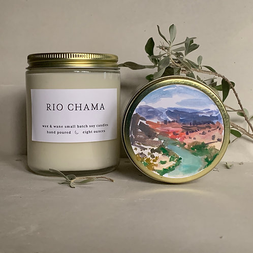Hand-painted Rio Chama Candle