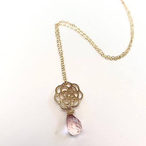 Rose Quartz Bloom Necklace