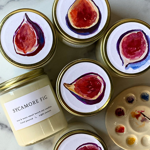 Hand-painted Sycamore Fig Candle