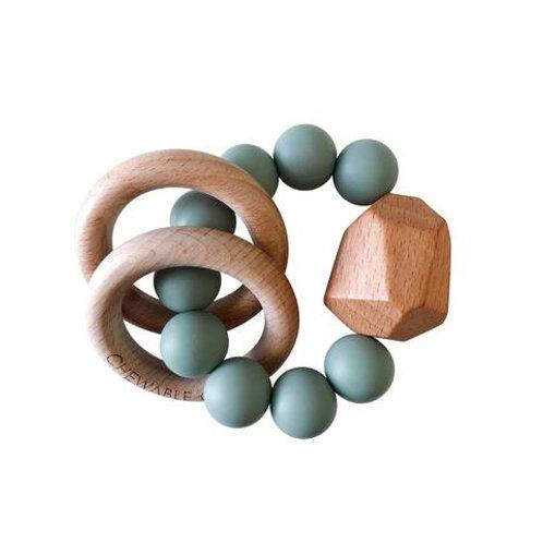 Teal Wood & Silicone Teether