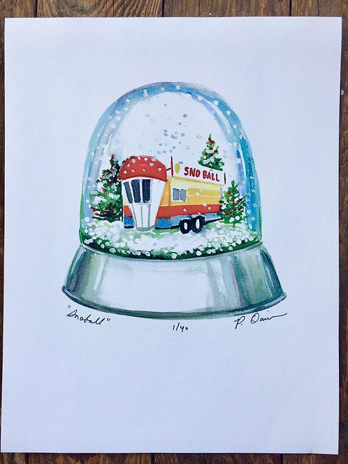 Snowball Snowglobe Watercolor Print