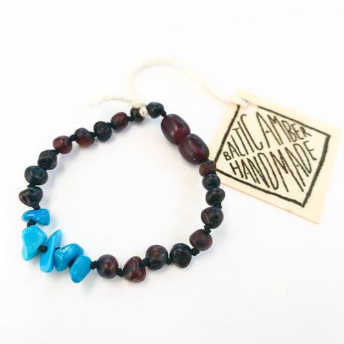Baltic Amber & Turquoise Teething Bracelet