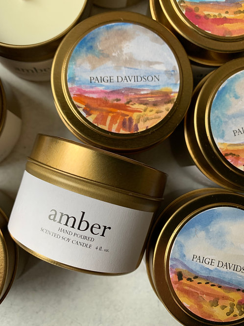 Paige Davidson Hand-painted Amber Candle
