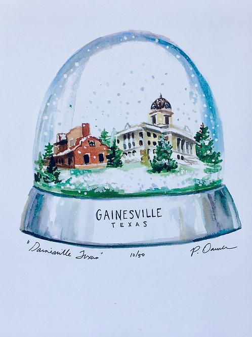 Gainesville Snowglobe Watercolor Print