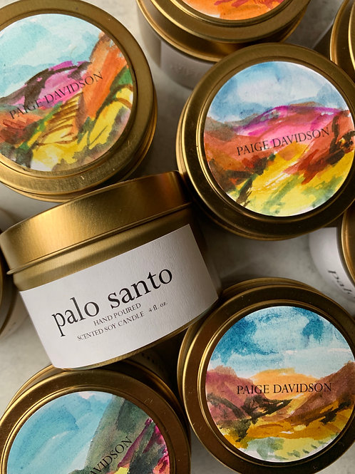 Hand-painted Palo Santo Candle