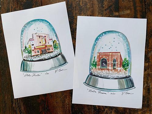 Snowglobe Watercolor Prints