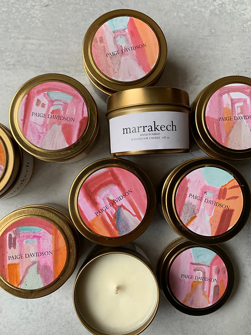 Hand-painted Marrakech Candle
