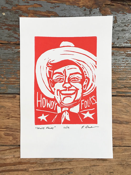 Howdy Folks Block Print