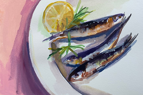 Sardines with Lemon a Plate