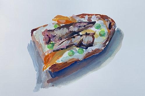 Sardine Toast with Peas