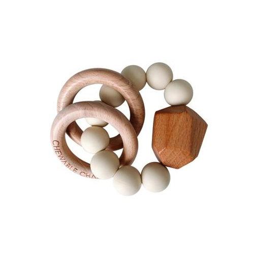 Cream Wood & Silicone Teether