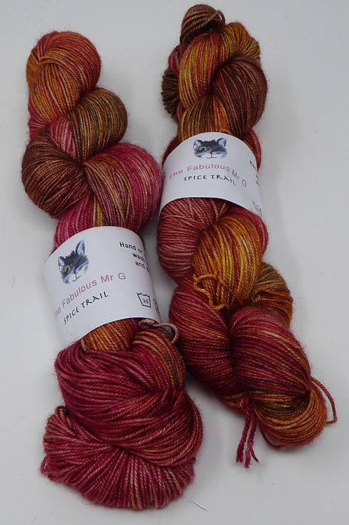 Spice Trail: 4 Ply, Fingering, Merino/Silk, 100gms