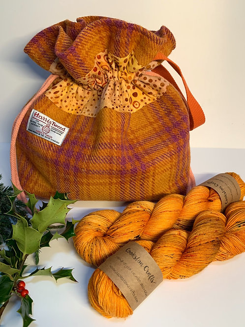 Bennachie Project Bag and two skeins of Dragon Flies yarn