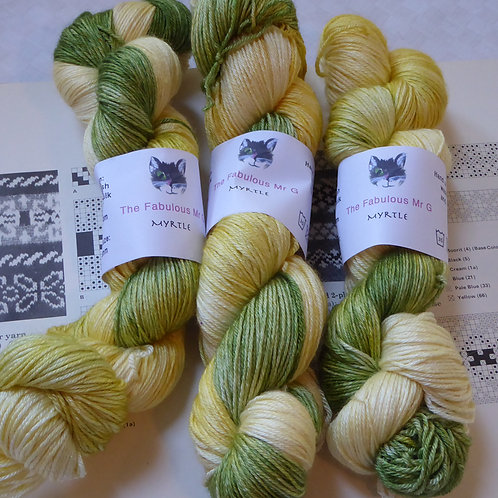 Myrtle: 4 Ply, Fingering, Merino/Silk, 100gms