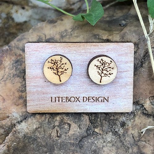Leafy Tree Tree Post Earrings