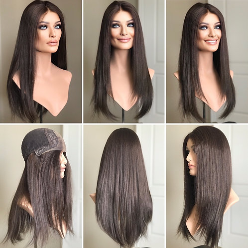 "W154 Mckenna Premium Human Hair Lace Top Wig 22"""