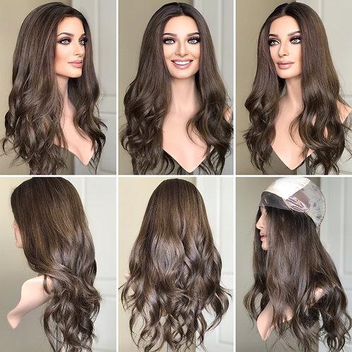 """W325 Mckenna Premium Human Hair Silk Top Wig 23-24"""""""