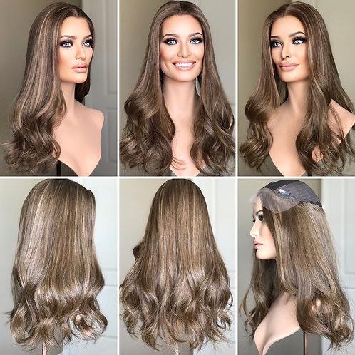 "T128 Mckenna Premium Human Hair Silk Top Lace Front Topper 8x8 22"""