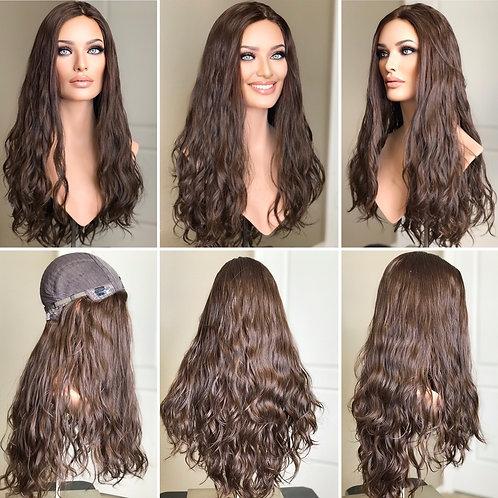 """W166 Mckenna Wavy Premium Human Hair Wig 27"""""""