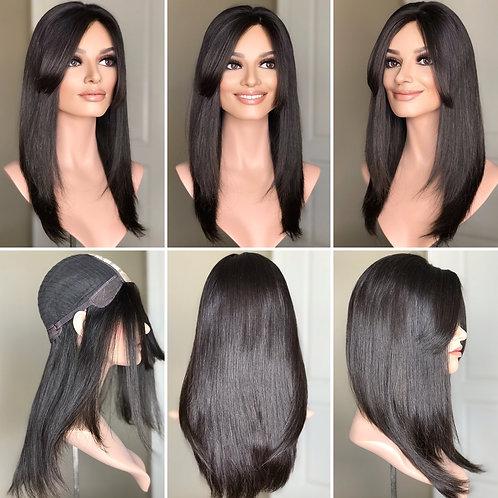 """W233 Mckenna Premium Human Hair Silk Top Wig 20"""""""
