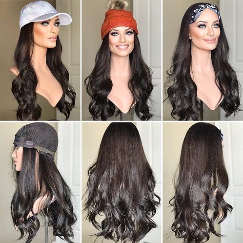"""W307 Mckenna Premium Human Hair Band/Hat Fall 24"""""""