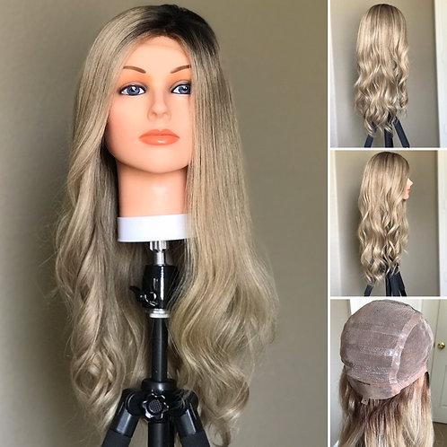 W39 McKenna Slavic Human Hair Silicone Cap Wig 25'