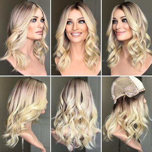 """W282 Mckenna Premium Human Hair Silk Top Wig 16-17"""""""