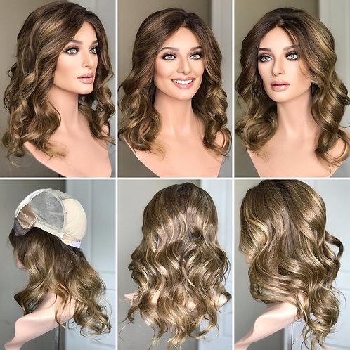 """W203 Mckenna Premium Human Hair Silk Top Wig 18"""""""