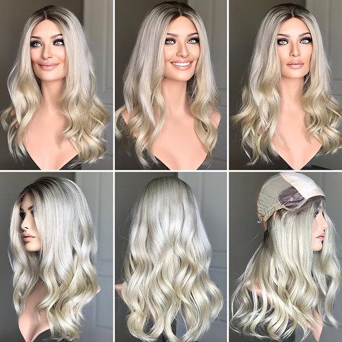 """W217 Mckenna Premium Human Hair Silk Top Wig 22"""""""