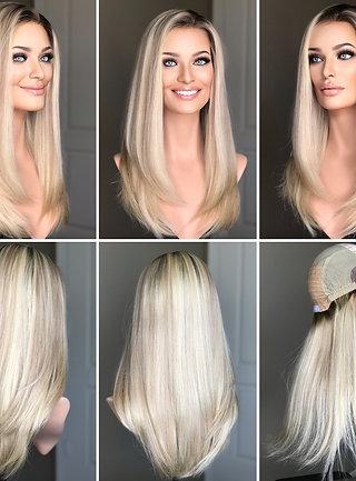 """W239 Mckenna Premium Human Hair Silk Top Wig 22"""""""