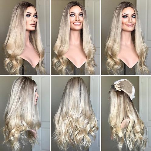 """W321 Mckenna Premium Human Hair Silk Top Wig 23-24"""""""