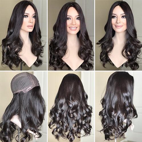 """W293 Mckenna  Premium Human Hair Silk Top Wig 24"""""""