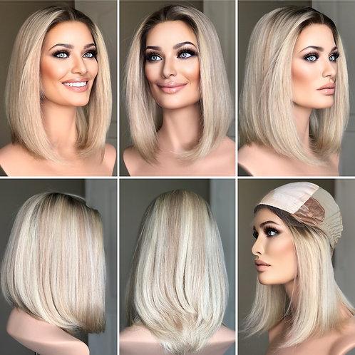 """W319 Mckenna Premium Human Hair Silk Top Wig Bob Cut 12"""""""