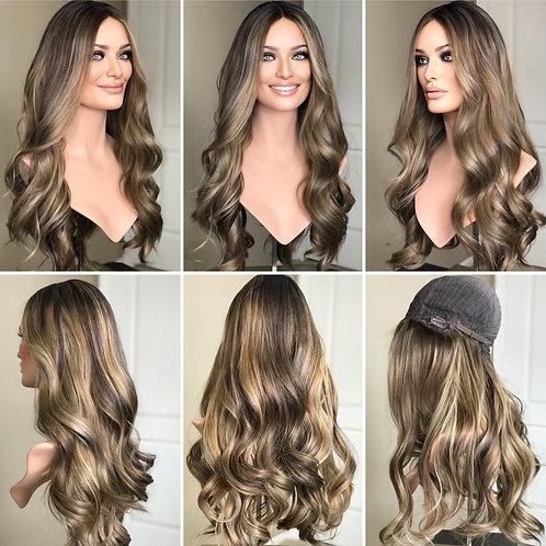 """W202 Mckenna  Premium Human Hair Silk Top Wig 27"""""""