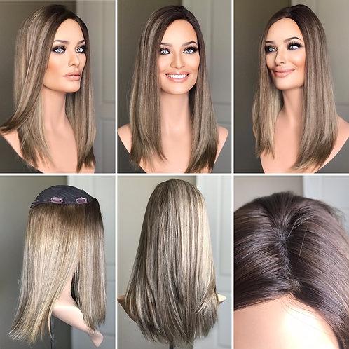 """T100 Mckenna Premium Human Hair Topper 8x8 17"""""""