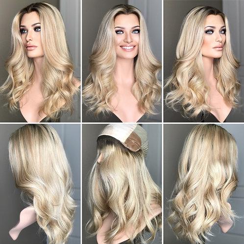 """W288 Mckenna Premium Human Hair Silk Top Wig 22"""""""