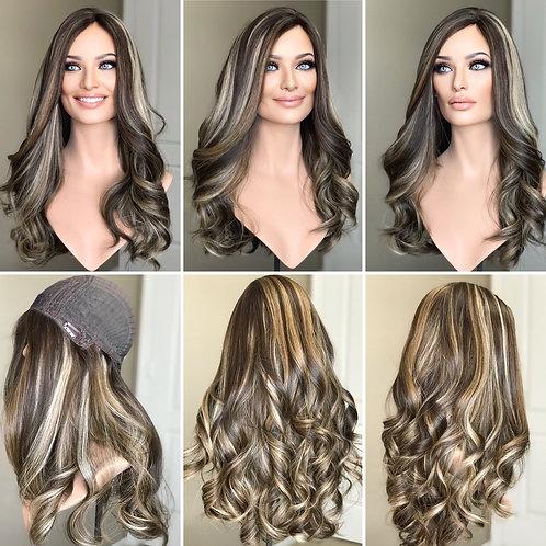 """W287 Mckenna Premium Human Hair Silk Top Wig 24"""""""