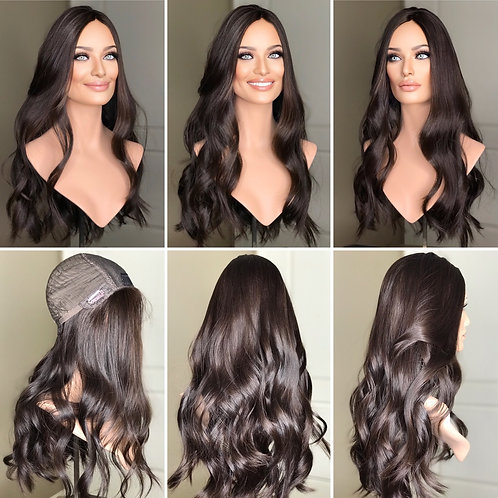"""W245 Mckenna  Premium Human Hair Silk Top Wig 25"""""""