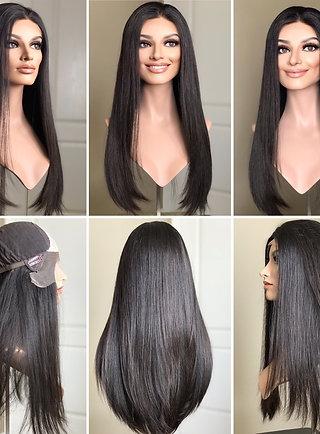 "W198 Mckenna Premium Human Hair Lace Top Wig 24"""