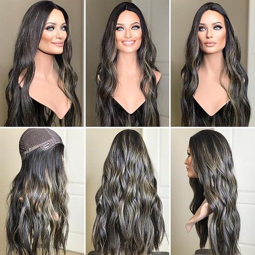 """W185 Mckenna  Premium Human Hair Silk Top Wig 29"""""""