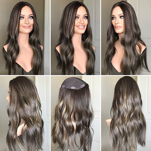 "T95 Mckenna Premium Human Hair Silk Topper 9x9 22"""